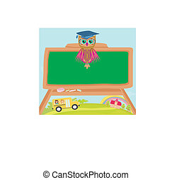 cute back to school illustration with owl