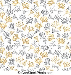Cute background. Seamless floral pattern in doodle style