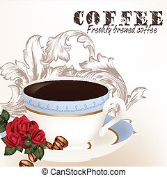 Cute background with cup of coffee