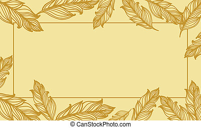 Cute background with feathers. card design with border in ...