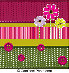 cute background with flowers and clothes buttons. vector