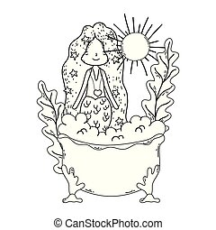 cute, badekar, karakter, havfrue