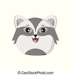 Cute Badger Animal Head Illustration