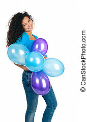 cute, balões, mulheres