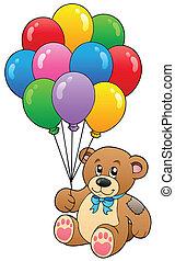 cute, balões, urso, segurando, pelúcia