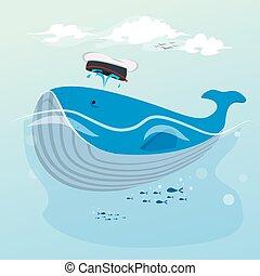 cute, baleia, mão, caricatura, desenhado