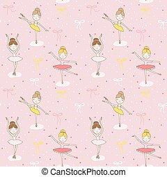 Cute Balerina Background - Seamless Pattern - in vector
