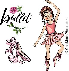 Cute ballerina girl., beautiful hand-drawn pink pointed shoes with long ribbons