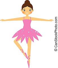 Cute ballerina. Girl dancing in tutu skirt