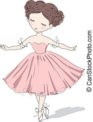 Cute ballerina girl. Vector illustration.