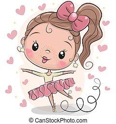 Cute Cartoon Ballerina on a white background