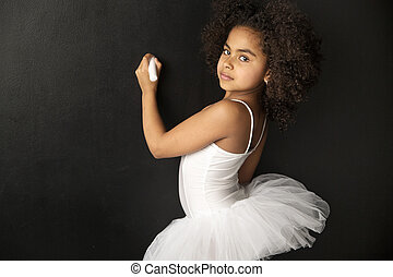 Cute ballet dancer drawing with a chalk
