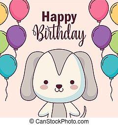 cute, balloner, hund, fødselsdag, helium, card, glade