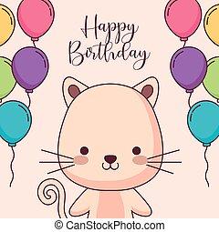 cute, balloner, kat, fødselsdag, helium, card, glade