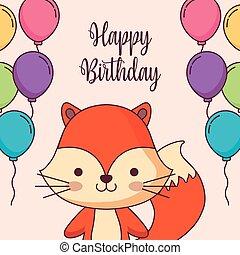 cute, balloner, ræv, fødselsdag, helium, card, glade