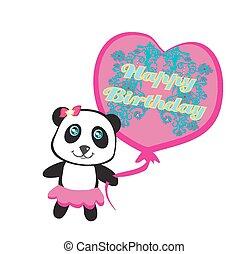 cute, balloon, -, aniversário, panda, cartão, feliz