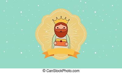 cute Balthazar wise man manger character , 4k video...