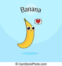 Cute Banana fruit Character. Cartoon vintage vector illustration.