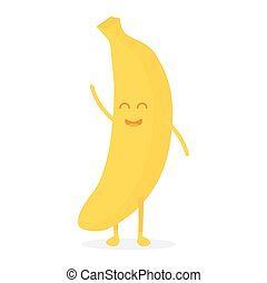 Cute banana fruit characters with faces and hands vector illustration