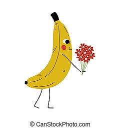 Cute Banana Standing with Bouquet of Flowers, Cheerful Fruit Character with Funny Face Vector Illustration