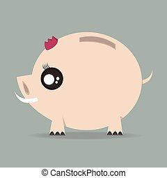 cute, banco, desenho, piggy, apartamento
