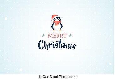 cute, bandeira, natal, feliz, pingüim