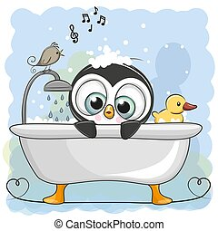 cute, banheiro, caricatura, pingüim