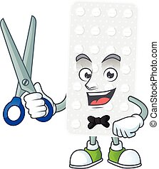 Cute Barber pills cartoon character style with scissor. ...