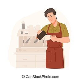 Cute barista making cappuccino at cafe or coffeeshop....