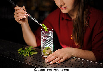cute barmaid in a red dress prepares a mojito in a crystal glass