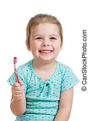 cute, barnet, pige, børste tand, isoleret, på hvide, baggrund
