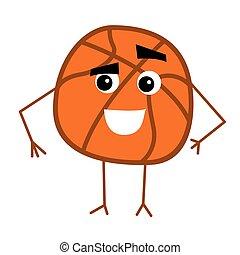 Cute Basketball Ball Cartoon Character.