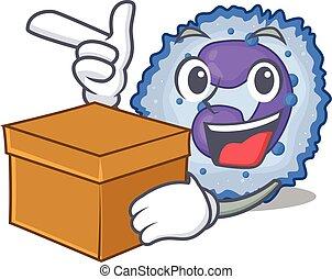 Cute basophil cell cartoon character having a box. Vector ...