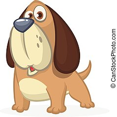 Cute Basset Hound dog cartoon. Vector illustration isolated on white background.