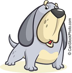 Cute Basset Hound dog cartoon. Vector illustration isolated on white background