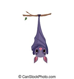 Cute bat hanging upside down on tree branch, funny creature cartoon character vector Illustration on a white background