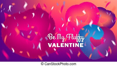 Cute Be My Valentine card with pink fluffy devil and hearts on disco party background with confetti