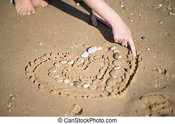 Cute beach girl in love