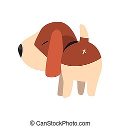 Cute beagle dog, back view, cute funny animal cartoon character vector Illustration on a white background