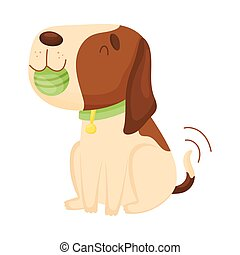 Cute beagle holds a ball in his teeth. Vector illustration on a white background.