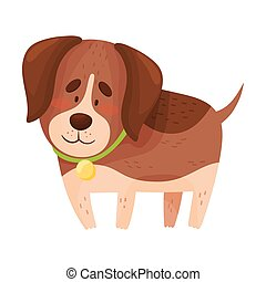Cute beagle is standing. Vector illustration on a white background.