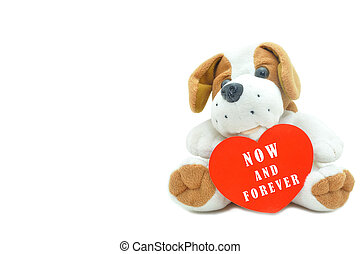 Cute beagle puppy doll showing red heart now and forever for couple love.