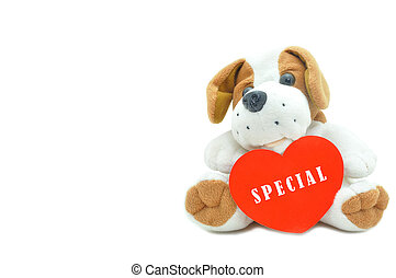 Cute beagle puppy doll showing red heart specials for couple love.