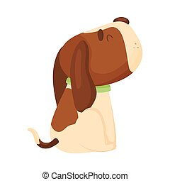 Cute beagle sits sideways. Vector illustration on a white background.