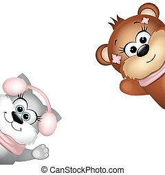 Cute bear and cat on a white background.