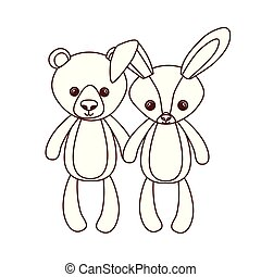 cute bear and rabbit stuffed baby toys