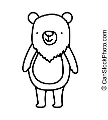 cute bear animal cartoon character on white background thick line