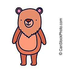 cute bear animal cartoon character on white background