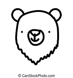 cute bear animal face cartoon character on white background thick line