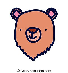 cute bear animal face cartoon character on white background